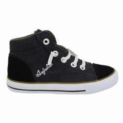 Vulcanized high cut lace up kid canvas shoes