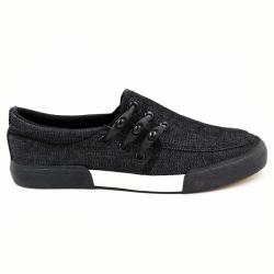 Vulcanized low cut slip on men canvas shoes