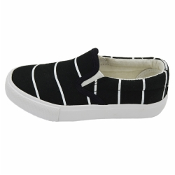 Vulcanized low cut slip on kid canvas shoes