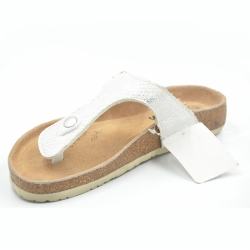 Silver Women Flipflops HighQuality Cork Slipper