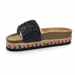 Women Black Cork Slipper